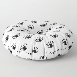 Graphic Black and White Eye Pattern Floor Pillow