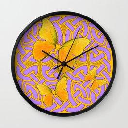 LILAC PURPLE YELLOW BUTTERFLIES CELTIC ART PATTERN Wall Clock