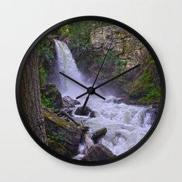 Summer Snow Melt - Waterfall & Forest Wall Clock