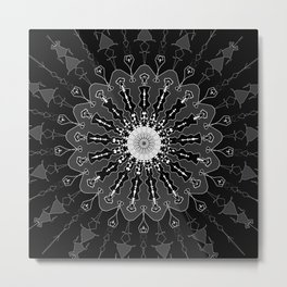 Black and White Floral Spiral Digital Art Metal Print