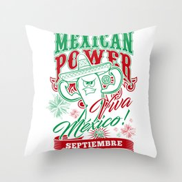 Mexican Power Color Throw Pillow