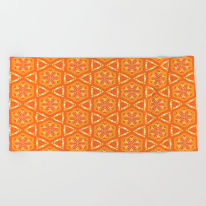 Orange and Yellow Stars and Hearts 9055 Beach Towel