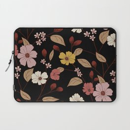 Beautiful Autumn Flowers Floral Kingdom Pattern Black Background Laptop Sleeve