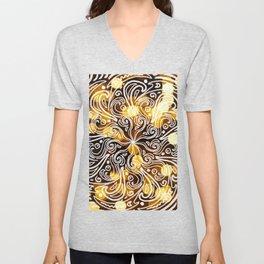 BLACK GOLD BOKEH SWIRL symmetrical doodle mandala pattern Unisex V-Neck