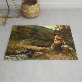 Classical Masterpiece The Footstep by Arthur Hughes Rug