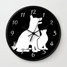 Dog and Cat BFFs Wall Clock