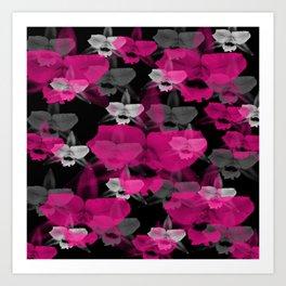Orchid Flowers Print Pattern / Black Background  Art Print