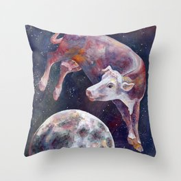 The Cow Jumped Over The Moon - III Throw Pillow
