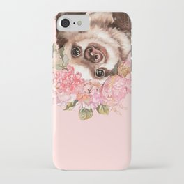 Baby Sloth with Flowers Crown iPhone Case