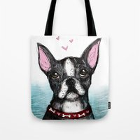 boston terrier Tote Bags featuring Boston Terrier by Inked in Red