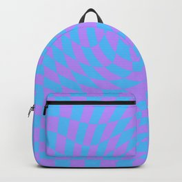 Light Blue and Lavender checkered pattern wave Backpack