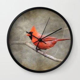 His Red Glory Male Cardinal Wall Clock