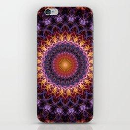 Violet and orange mandala iPhone Skin