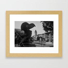 Kansas University Skyline along Jayhawk Boulevard in Monochrome Framed Art Print