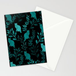 Watercolor Floral and Cat IV Stationery Cards