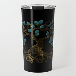 Glow gold and teal Glowing Tree of life  -Yggdrasil Travel Mug