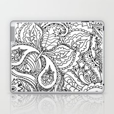 Black white hand painted watercolor butterfly abstract floral Laptop & iPad Skin