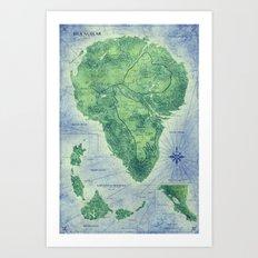 Jurassic Park - Map - Colour Art Print