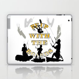 Be Up With The Boards Yellow Text And Kitesurfer Vector Laptop & iPad Skin
