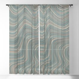 MANITOULIN forest colours of aquamarine green and brown in abstract waves design Sheer Curtain