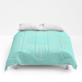 Simply Sunburst in Tropical Sea Blue Comforters