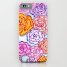 Multi-Colored Roses on Blue iPhone 6s Slim Case