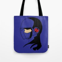 megaman Tote Bags featuring Enforcer Megaman by DonCorgi