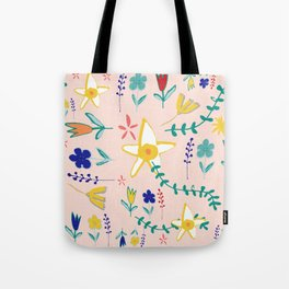 Floral The Tortoise and the Hare is one of Aesop Fables pink Tote Bag