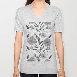 Spring flowers - black and white Unisex V-Neck