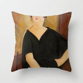 Amedeo Modigliani - Madame Amédée (Woman with Cigarette).jpg Throw Pillow
