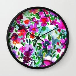 Evie Floral Magenta Wall Clock