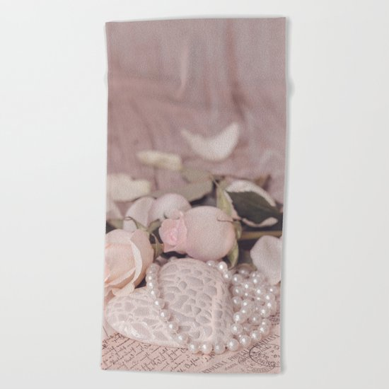 Soft Pink Nostalgic Rose and Heart Still Beach Towel