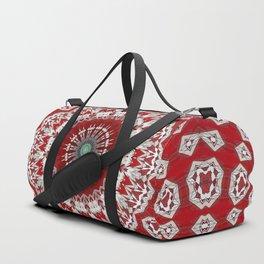 Red White Bohemian Mandala Design Duffle Bag