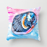 introvert Throw Pillows featuring The Introvert by Dawn Patel Art