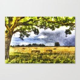 The Farm Watercolor  Canvas Print