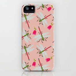 Dragonflies and Roses iPhone Case