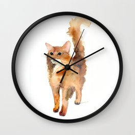 Ginger Fluffy Cat Wall Clock