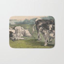 Vintage Cattle Farm Illustration (1856) Bath Mat