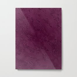Deep Maroon Plum Rippled Moiré Pattern Metal Print