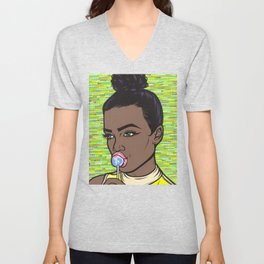 lollipop comic girl Unisex V-Neck