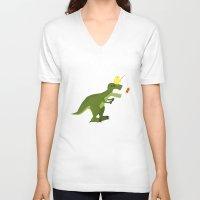 dinosaur V-neck T-shirts featuring dinosaur by Nir P