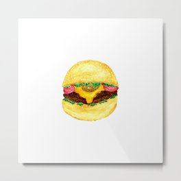 Watercolor burger Metal Print
