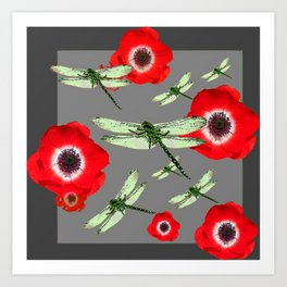 EMERALD GREEN DRAGONFLIES & RED POPPY FLOWERS GREY ART Art Print