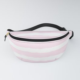 Pink handpainted stripes on clear white Fanny Pack