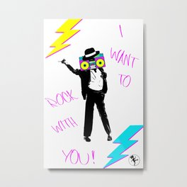 Black Silhouette of King of the Pop and Boombox 80s style & Lightnings | Neon colors Yellow - Turquoise & Pink Metal Print