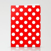 polka dots Stationery Cards featuring Polka Dots (White/Red) by 10813 Apparel