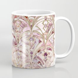 Dusty Rose and Coral Art Deco Marbling Pattern Coffee Mug