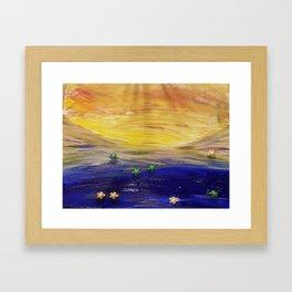 Racing to the sea Framed Art Print