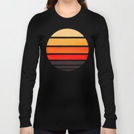 Orange Mid Century Modern Minimalist Circle Round Photo Staggered Sunset Geometric Stripe Design Long Sleeve T-shirt