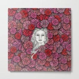 Girl with roses Metal Print